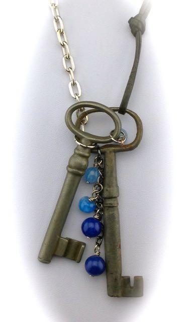 Antique Skeleton Key Necklace - French keys, lovely colars on both w/ gemstones