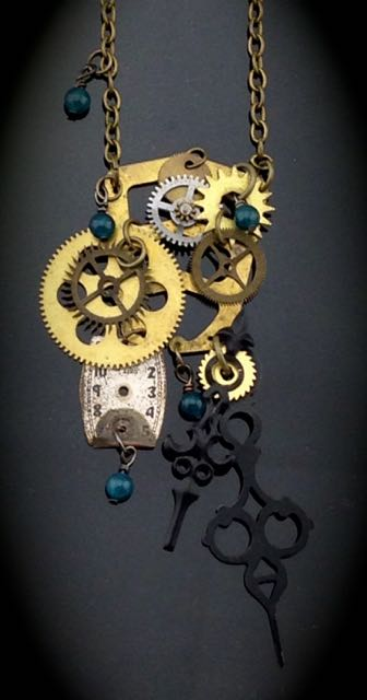 Kinetic Steampunk Necklace w/ Antique Clock Gears, Watch Face, Vintage Clock Hands