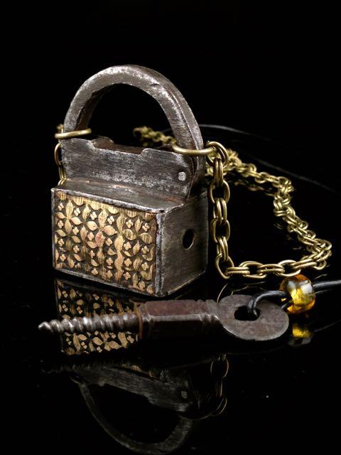 Lg Antique Lock with Skeleton Screw Key Necklace Set - 2 pc work together